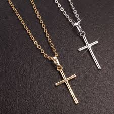 european fashion trendy punk simple cross charms pendant necklace for men women gold color jewelries mart