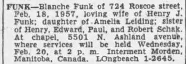 Obituary for Blanche FUNK - Newspapers.com