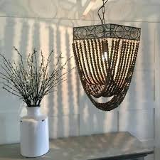 wood bead pendant light natural wooden bead chandelier with distressed metal detail wooden bead pendant light wood bead