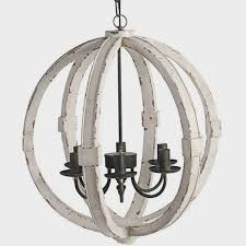 image of white washed wood sphere chandelier