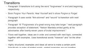 forgive and forget essay example about forgive and forget essay  essay analysis forgiveness anna lauren lia monica shelley transitions paragraph 5 transitions to 6 using the