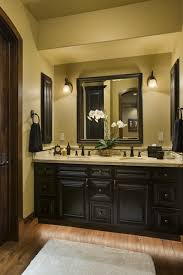 Dark bathroom vanity Wall Jimhickscom Yorktown Virginia Dark Bathroom Vanity Cabinet With Light Vanity Top And Wood Floor