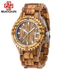 online get cheap mens bangle watch aliexpress com alibaba group sihaixin fashion full wooden watches for men calendar display bangle quartz men 39