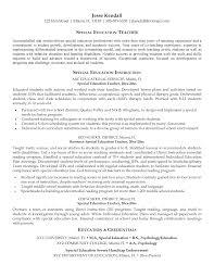 Special Ed Teacher Resume Examples Unique Sample Special Education Teacher  Resume
