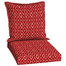 garden treasures red diamond ruby geometric deep seat red outdoor chair cushions clearance