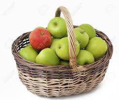 green and red apples in basket. basket with green apples and one red empty space for your text stock photo in h