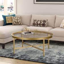 xivil brass finish round coffee table