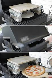bricks covered in foil and stone to mimic a brick fired oven on your
