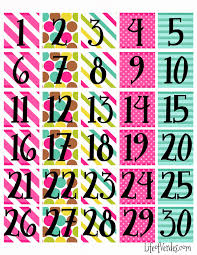 Calendar Numbers For Pocket Chart Free Calendar Numbers For Pocket Chart Printable Calendar