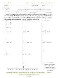 single variable equations worksheets solve one step worksheet linear with