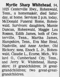 Obituary for Myrtle Sharp Whitehead (Aged 94) - Newspapers.com