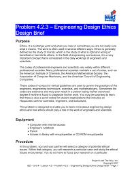 Engineering Design Brief Problem 4 2 3 Engineering Design Ethics Design Brief