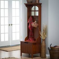 Wooden Coat Rack With Storage Furniture Tall Narrow Wood Storage Bench Cabinet With Coat Rack Coat 85