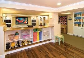 basement home theater and shelves
