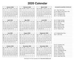 Printable Calendars 2020 With Holidays Free Printable Year 2020 Calendar