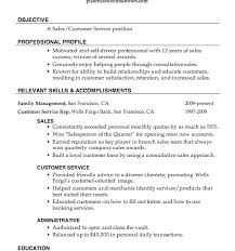 Inspiring Customer Service Profile Resume Sample Sales Job