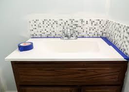Backsplash for bathroom Black Tape Off And Prep The Tile Backsplash For Painting From Homestead 128 Homestead 128 Updated Bathroom Tile Backsplash Diy With Paint