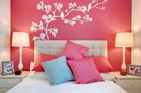Nice Pink Accent Bedroom Wall Scheme With Creative White Florals And Bird  Painting