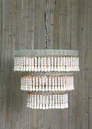 wood beaded chandelier ceiling light fixture vintage style cottage chic bohemian