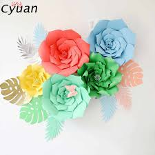 Rose Flower With Paper Detail Feedback Questions About Cyuan 2pcs 20cm Diy Paper Flowers