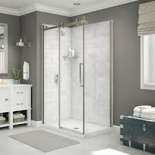 maax utile corner shower in carrara marble with base and door lowe s canada