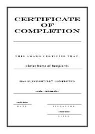 templates for certificates of completion free certificate template
