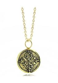 snowflake embossed medallion14k gold plated pendant necklace on 16 chain