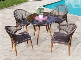 new and hot ing round shapetapered legs aluminum synthetic rattan dining set