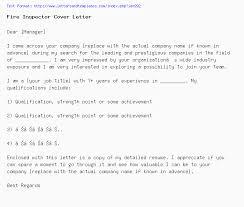 Fire Inspector Cover Letter Job Application Letter