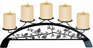 pinecone table top pillar candle holder