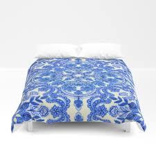 cobalt blue china white folk art pattern duvet cover