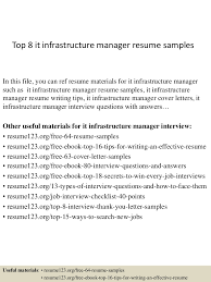 Top8itinfrastructuremanagerresumesamples 150410091103 Conversion