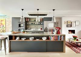 kitchen island view in gallery dashing kitchen island in gray with open shelving and sleek