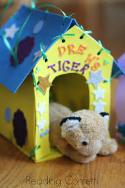 Kids can make and decorate their own stuffed animal house and carrier.  They're made from just a few crafting supplies and are easy to custom.