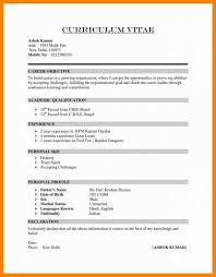 Curriculum Vitae Formats Gorgeous Example Of Simple Cvcv Template For First Job Sample Resume Format