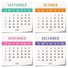 2015 Diseño De Calendario Conjunto De Cuatro Meses Septiembre