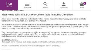 wiltshire two drawer coffee table brand new in perth perth and kinross gumtree