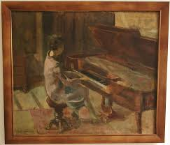 art deco oil painting woman playing the piano by leo bervoets belgium 1920 for at 1stdibs