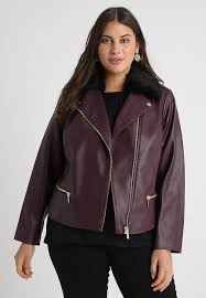 plus moto faux leather jacket burdy