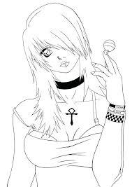 Emo Girl Coloring Pages Anime Boy Drawing Seaahco