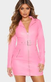 baby pink faux leather biker buckle con dress image 1