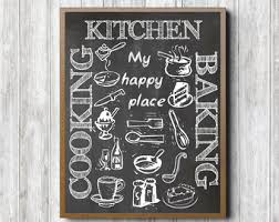 kitchen chalkboard wall art printable my happy place quote wall decor kitchen items baking cooking art print kitchen quote poster on chalk wall artwork with chalkboard wall art etsy