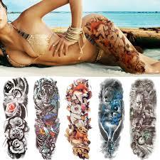 10203 руб 10 скидкасексуальный волк полный цветок руки временные татуировки