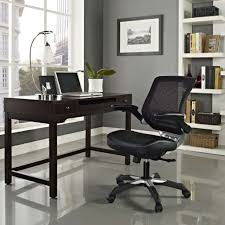 comfortable office. Office:Simple Home Office Inspiration With Rectangle Dark Brown Varnished Wood Computer Desk And Black Comfortable