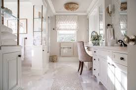 O  Awesome White Interior Decoration Master Bathroom Remodel With Corner Wet  Room And Beautiful Wallpaper