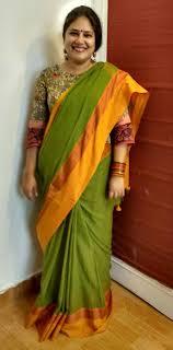 Lakshmi Rupu Blouse Designs Kalamkari Blouse With Green Bengal Cotton Saree The Saree