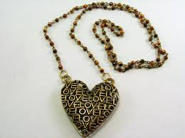 antique brass metal love heart pendant with antique brass and tiger eye chain necklace