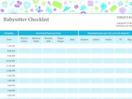 babysitting schedule template babysitter checklist with schedule for the home pinterest