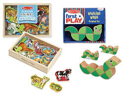 Melissa Doug Learn and Play Bundle - 20-Piece Wooden Animal Magnets Set with Wiggling 25 Best Animals