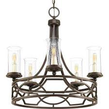 soiree collection 5 light antique bronze chandelier with clear seeded glass shade